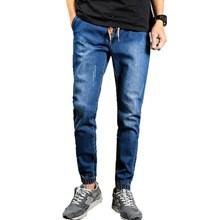 Для мужчин S джинсы осень 2017 г. Для мужчин шнурок Slim Fit Denim Joggers Для мужчин S джоггеры Джинсы брюки Для мужчин эластичные Жан карандаш Брюки