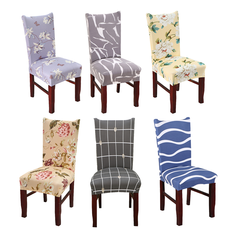 Monily Universal Kitchen Dining Room Chair Cover Spandex Stretch Polyester Chair Seat Cover Floral Geometric Seat Protector Case