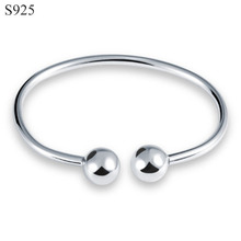Genuine Real Pure Solid 925 Sterling Silver Bangles for Women Jewelry Round Ball Female Cuff Bangle Bracelet Hand Wristband Gift pure silver 925 twisted cord weave bangle men women vintage cuff bracelet 6mm band 100% real sterling silver 925 handmande craft