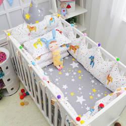 10 stks/set Katoen Pasgeborenen Crib Bedding Set Accessoires Baby Beddengoed Set Met Storage Opknoping Bag Baby Cot Beddengoed Cartoon