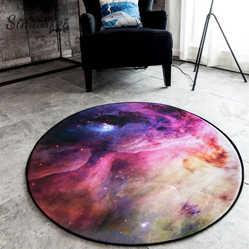 Simanfei Round Carpets 2019 New Printed Cosmic Planets Mat Anti Slip Circular Floor Rugs Computer Chair Mats Kids Room Decor