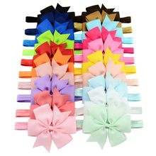 Cute baby bow tie Headband Polyester Ribbon Bow Elastic Hair Bands Children Easy to wear Hair Accessories Headwear Pink/white(China)