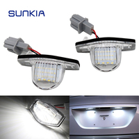 2Pcs Set SUNKIA LED Number License Plate Lights For Honda Odyssey Crosstour CR V HR V