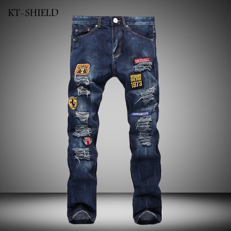 Ripped mens Jeans pants Fashion casual Harem Straight Badge full length trousers Cotton blue Denim Distressed Vaqueros Hombre new fashion jeans pants for men casual famous brand full length trousers mens ripped biker straight mens denim vaqueros hombre