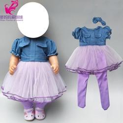 """Кукла платье из джинсовой ткани с брюк для 18 """"Девушка кукольные джинсы одежда и гольфы детские жакет для куклы"""