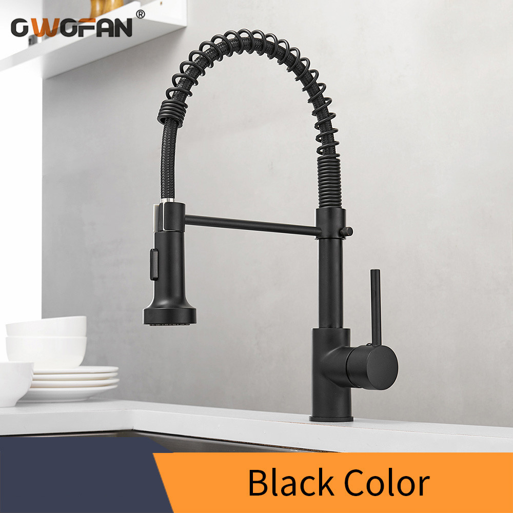 Kitchen Faucets Brush Brass Faucets For Kitchen Sink Single Lever Pull Out Spring Spout Mixers Tap Hot Cold Water Crane N22-059