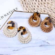 Women Summer Geometric Leopard Print Resin Rattan Braided Earrings Round Acrylic Vintage