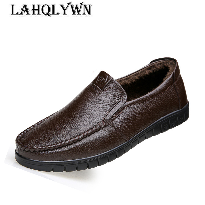 Men Genuine Leather Shoes Slip On Winter Warm Shoes Real Leather Loafers Mens Moccasins Shoes Italian Designer Shoes H268