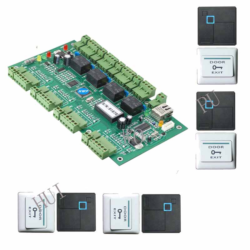 Free shipping Access controller kit Four doors access controller with 4 EM wiegand26 readers and 4 exit buttonsFree shipping Access controller kit Four doors access controller with 4 EM wiegand26 readers and 4 exit buttons