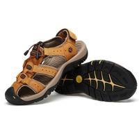 Men Hiking Genuine Leather Sandals Closed Toe Outdoor Trail Walk Fisherman Beach Shoes Best Sale Popular