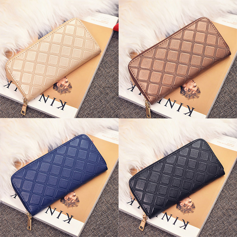 Ladies Women New Fashion Faux Leather Clutch Wallet Long Card  Money Holder Purse Case Plaid Bag Zipper Geometric Mini Elegant new baellerry pu leather women organizer long wallet bowknot money purse ladies coin phone clutch hand bag card holder pouch box