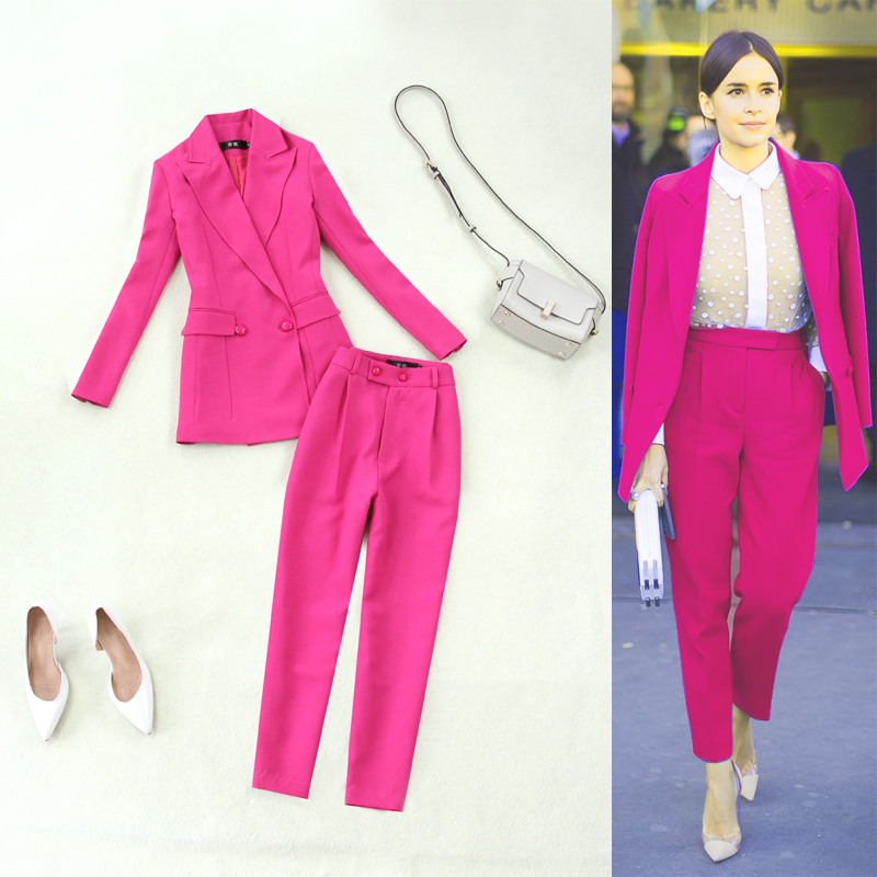 Fashion Work Pant Suits 2 Piece Set for Women Double Breasted rose Red Blazer Jacket & Pencil pants Office Lady Suit Feminino