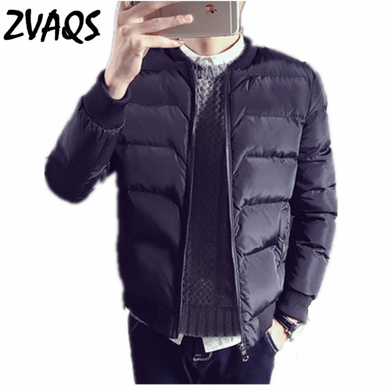 ZVAQS Winter Jacket Men 2018 Fashion Baseball Collar Male Parka Jacket Mens Black Solid Thick Campera Hombre Invierno CJ126