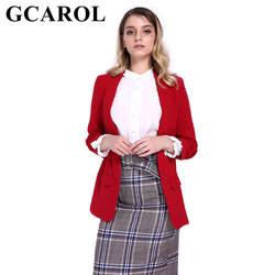 GCAROL Зубчатый воротник Для женщин конфетный Блейзер 3/4 Ruched рукавом Открыть стежка офисные пиджак Высококачественная верхняя одежда в 5