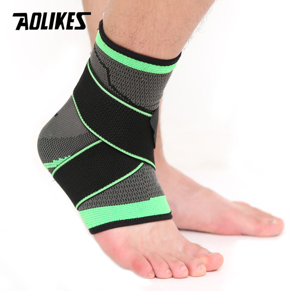 AOLIKES 1PCS 3D Weaving Elastic Nylon Strap Ankle Support Brace Badminton Basketball Football Taekwondo Fitness Heel Protector