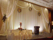Wedding backdrop Luxurious wedding supplies decorations  wedding white stage fabric curtain backdrop with Beautiful Swag