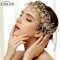 Chran New Hair Vine Gold Bridal Headband Art Deco Rhinestone Crystal Pearl Tiara, Wedding Floral Side Accented Headband Jewelry