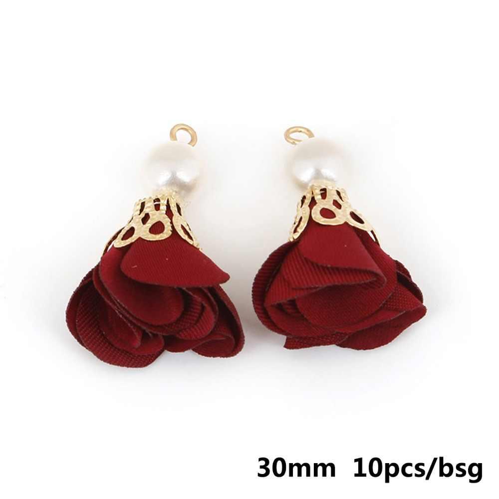 10 stücke Mode Perle Blume Verschluss Quaste Charme Für DIY Ohrring Halskette Armband Keychain Handy Schmuck, Die Entdeckungen Handwerk