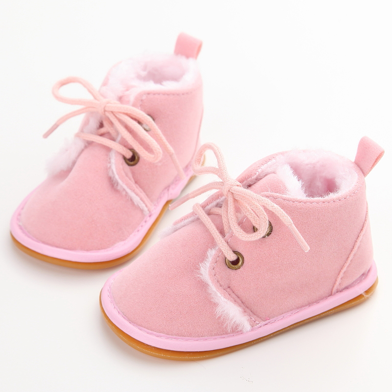 Delebao New Fashion Solid Lace-Up Baby Boots Cross-tied For Autumn/Winter Baby Shoes For Warm Baby Plush Boots Shoes Wholesale