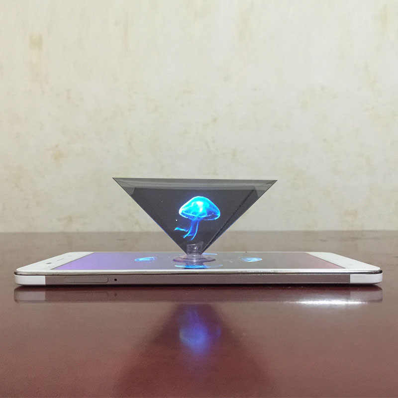 3D Hologram Pyramid Layar Proyektor Video Stand Universal untuk Smart Mobile Phone UY8