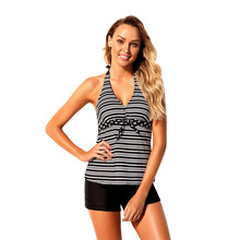 цены 2019 Women's Swimsuit Monochrome V Neck Stripe Print Halter Tankini Swimsuit Split Swimsuit Set