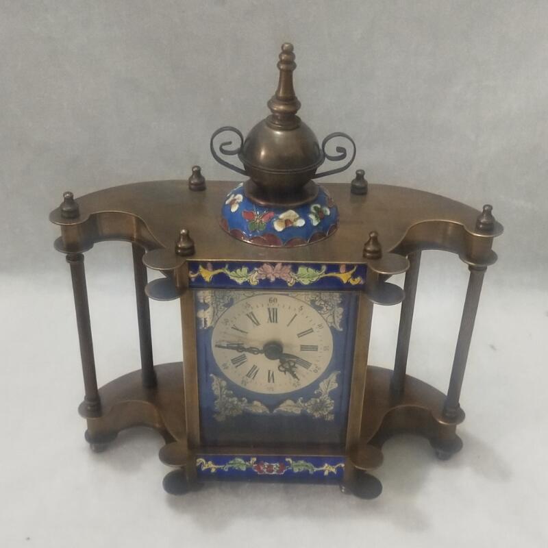 Haute 8 pouces/20 CM grandes horloges de bureau décorations maison collection vieux style antique chinois 100% horloge mécanique en cuivre/horloge rétro
