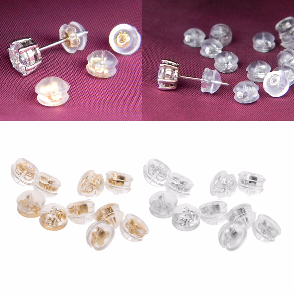 3PCS Hypoallergenic Earring Backs S925 Sterling Silver Soft Clear Silicone for Studs