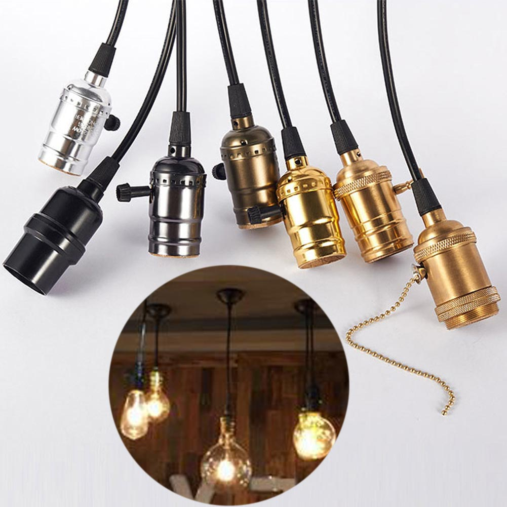 ST64 Tungsten Filament Bulb Retro Edison Screw Bulb Holder Socket Lamp Kitchen Patio Bar Pendant Light Stand With Switch 1.2m lamp base e27 vintage retro edison lamp base holder pendant bulb light screw socket 4 colors with switch no switch 110v 220v