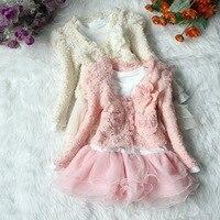 Bán lẻ 2 Màu Hồng/Màu Màu Be 2 Cái (Áo Khoác và Váy) Cô Gái Outfit Jacket Tutu Top Dress Toddler đảng Pageant Flower 2-6Y Shirt New
