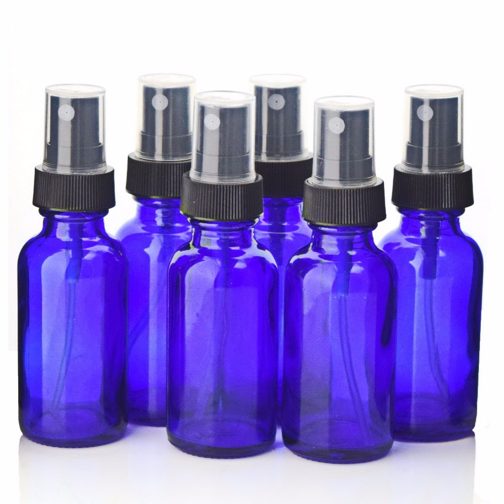 30ml Spray Bottle cobalt blue glass w/ Black Fine Mist Sprayers for essential oils, home cleaning, aromatherapy 1 Oz - pack of 6 6pcs 1oz 30ml amber glass spray bottle w black fine mist sprayer refillable essential oil bottles empty cosmetic containers
