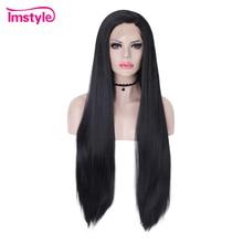 Imstyle شعر مستعار أسود اللون طويل الاصطناعية الدانتيل الجبهة الباروكات مستقيم شعر طبيعي الباروكات للنساء ألياف مقاومة للحرارة تأثيري الباروكات