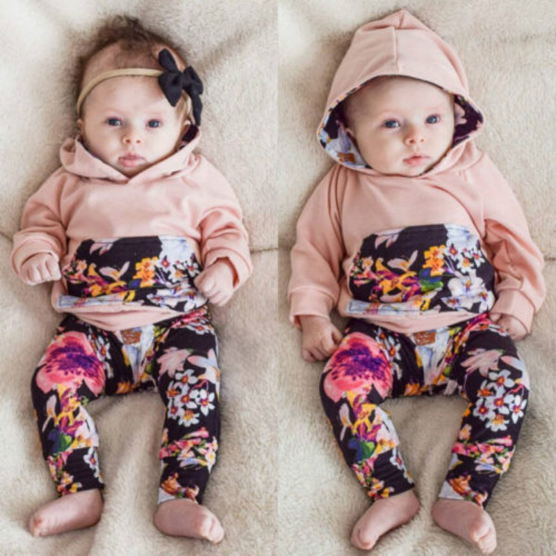 Autumn Spring Floral Baby Kids Clothing Sets Infant Newborn Baby Boy Girl Pink Hooded Tops+Long Pants Leggings 2pcs Set 0-24M