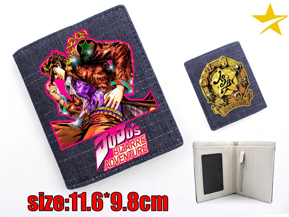 JoJo's Bizzare Adventure Bizarre Adventure Anime Kujou Joutarou Higashikata Josuke Canvas Wallet Fashion Coin Pocket Card Holder