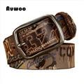 Marca Correa de Cuero Genuina Parejas Cinturón Retro de Graffiti Impreso Cinturón Serie del Estilo Europeo de Moda Correa de Cuero Genuina