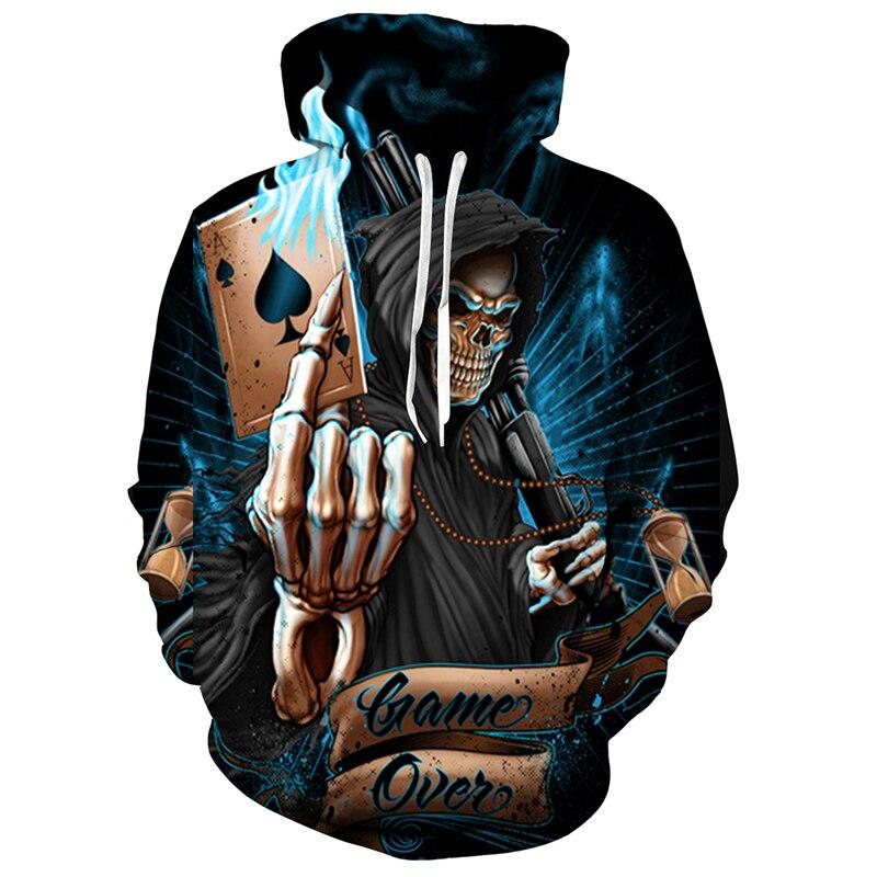 2017 new fashion men and women Cool sweatshirt Hoodies Men women 3D print Funny Skull Poker A Streetwear Long sleeve clothling
