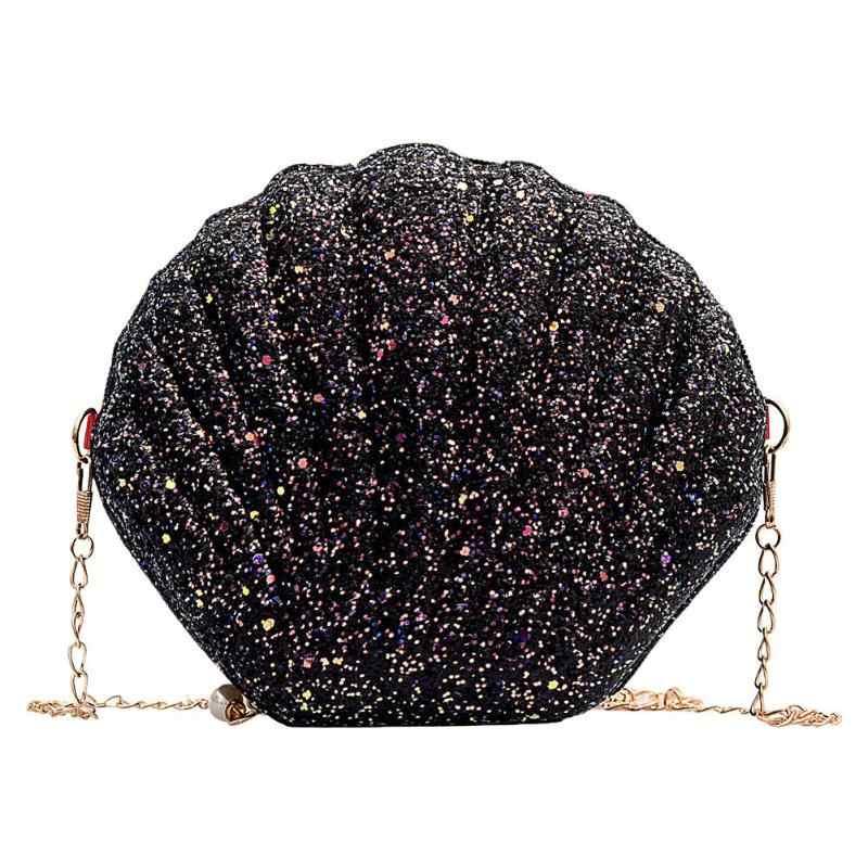 AIZHIYI Moda Cadeia de Lantejoulas Bolsa de Ombro Para As Mulheres Pu Bolsas De Couro Bonito Forma da Concha Bolsa Mini Saco do Verão bolsa feminina