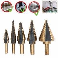 Top Quality 5pcs HSS Titanium Cone Step Drill Bit Large Cobalt Hole Cutter Tools Mayitr New