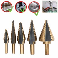 Top Quality 5pcs HSS Titanium Cone Step Drill Bit Large Cobalt Hole Cutter Tools Mayitr New