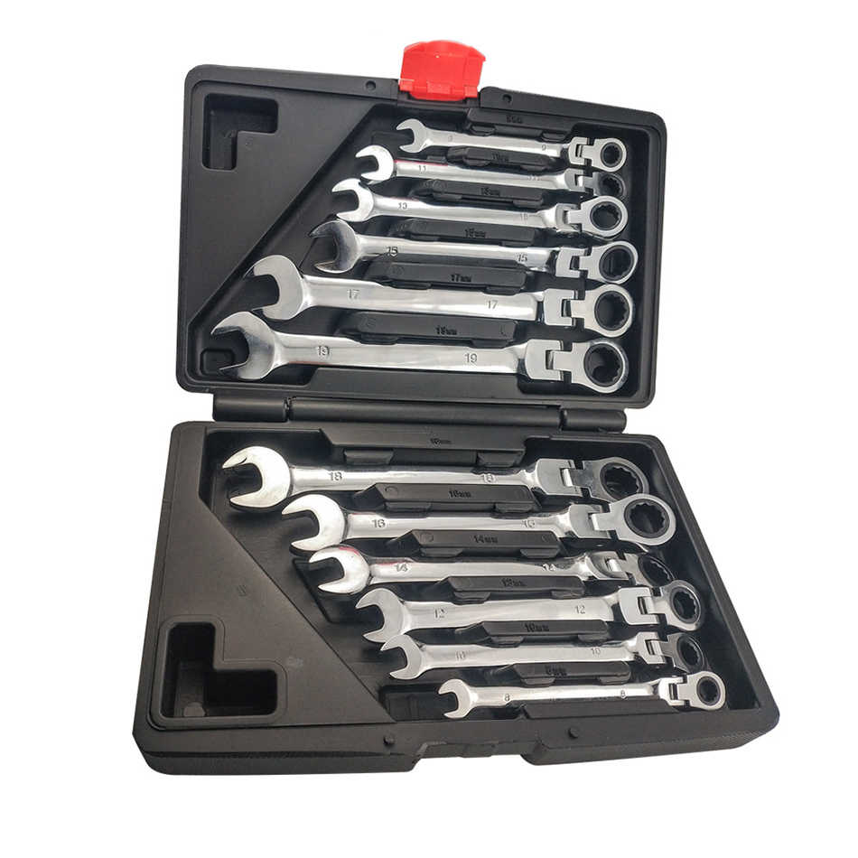 12PC movable head fixed head dual-use ratchet wrench set fast mechanical repair auto repair multi-function wrench tool set