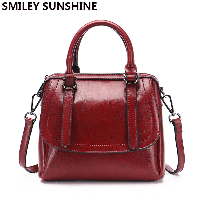SMILEY SUNSHINE cow leather women genuine leather handbags shoulder bag high quality designer luxury brand flap