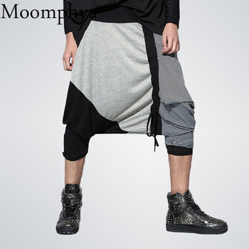 2018 New Arrived Men Cross Pants Striped Spliced pants men streetwear hip hop jogger Baggy pants