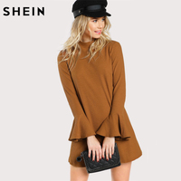 SHEIN Flare Sleeve Rib Knit Straight Dress Ginger High Neck Woman Dresses Autumn Long Sleeve Casual