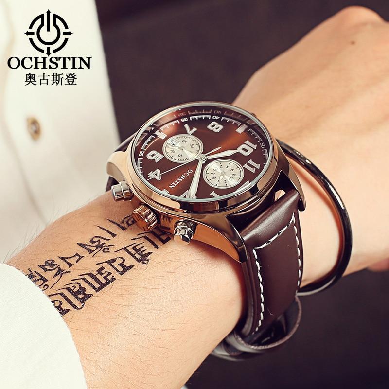 OCHSTIN Luxury Fashion Brand Watch Men Waterproof Leather Male Quartz Watch Man Relogio Masculino Esportivo Hodinky