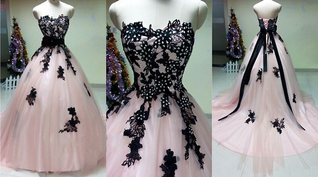 Beautiful Pink Wedding Dress Real Pictures Sweethear Long Train ...