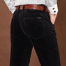 Nova moda calças de inverno dos homens calças grossas meados da cintura solta calças de veludo elástico calças longas reta negócios casuais