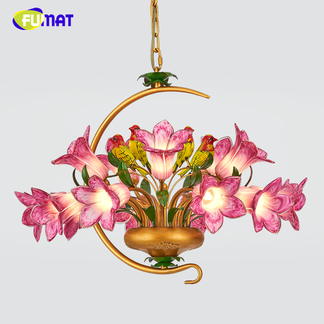 FUMAT Metal Pendant Light European Dining Room Bed Pastoral Floral Art Lamps Modern Brief Creative