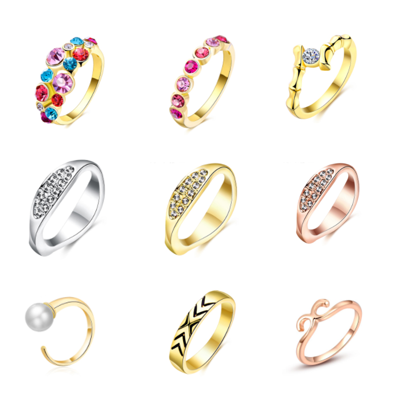 $1 GS Open Rings CZ Crystal Stone Rose Gold &Silver Color Rings for Women Girls Ring Jewelry for Wedding Gift Arbitrary Sending