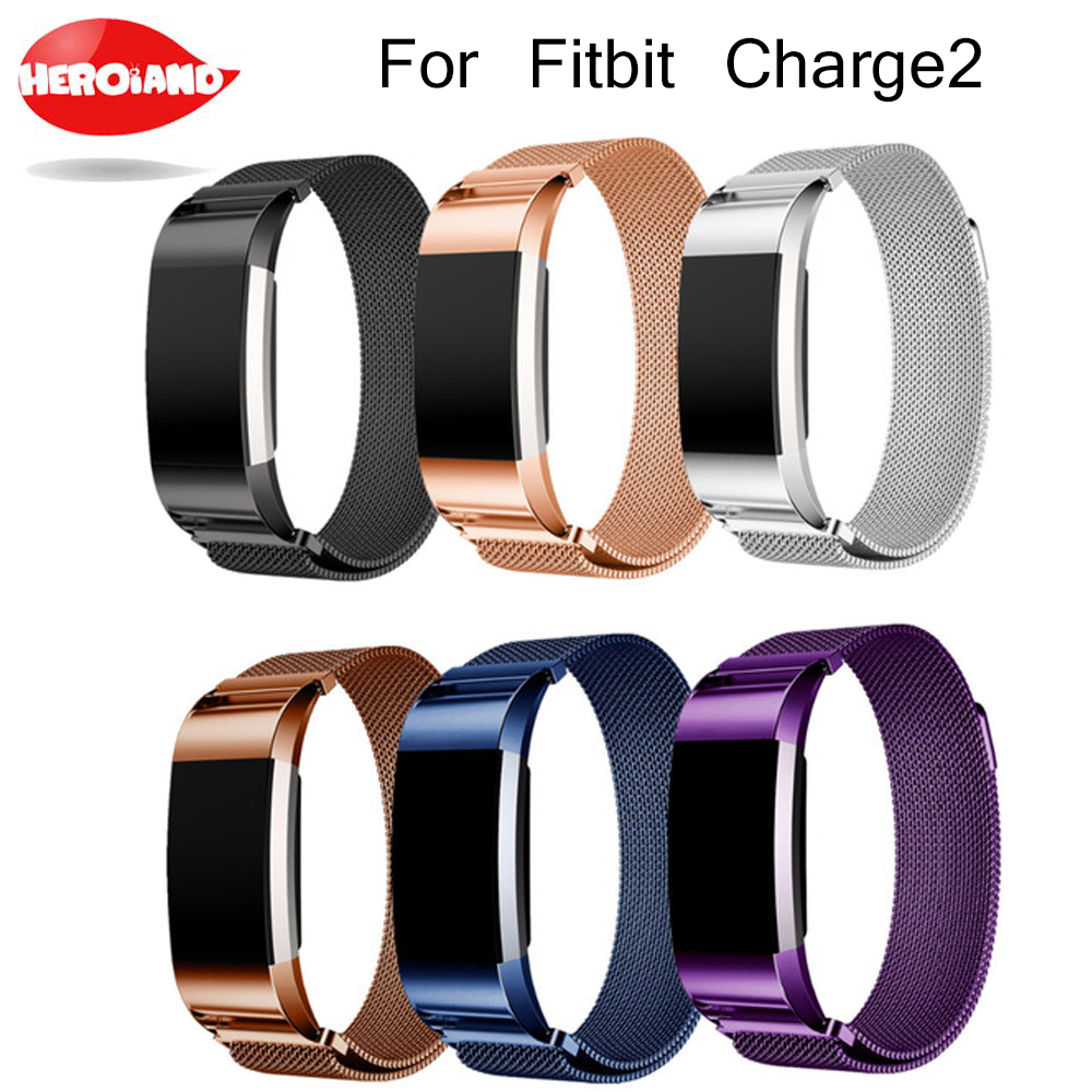 New Magnetic Milanese stainless steel bracelet replacement bands For Fitbit charge 2 strap For Fitbit charge2 Band Accessories