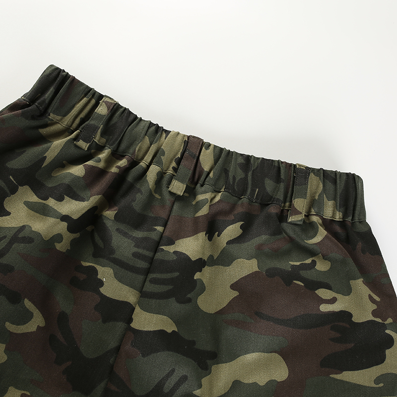 12Sweetown Elastic High Waisted Camo Shorts For Women Army Camouflage Cotton Womens Shorts Summer Short Femme Ete 2018 Streetwear