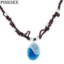 Permanente PINKSEE 1 PC Natural Pedra Redonda Forma Pendant Colares Oceano Romance Clássico Jóias Presentes